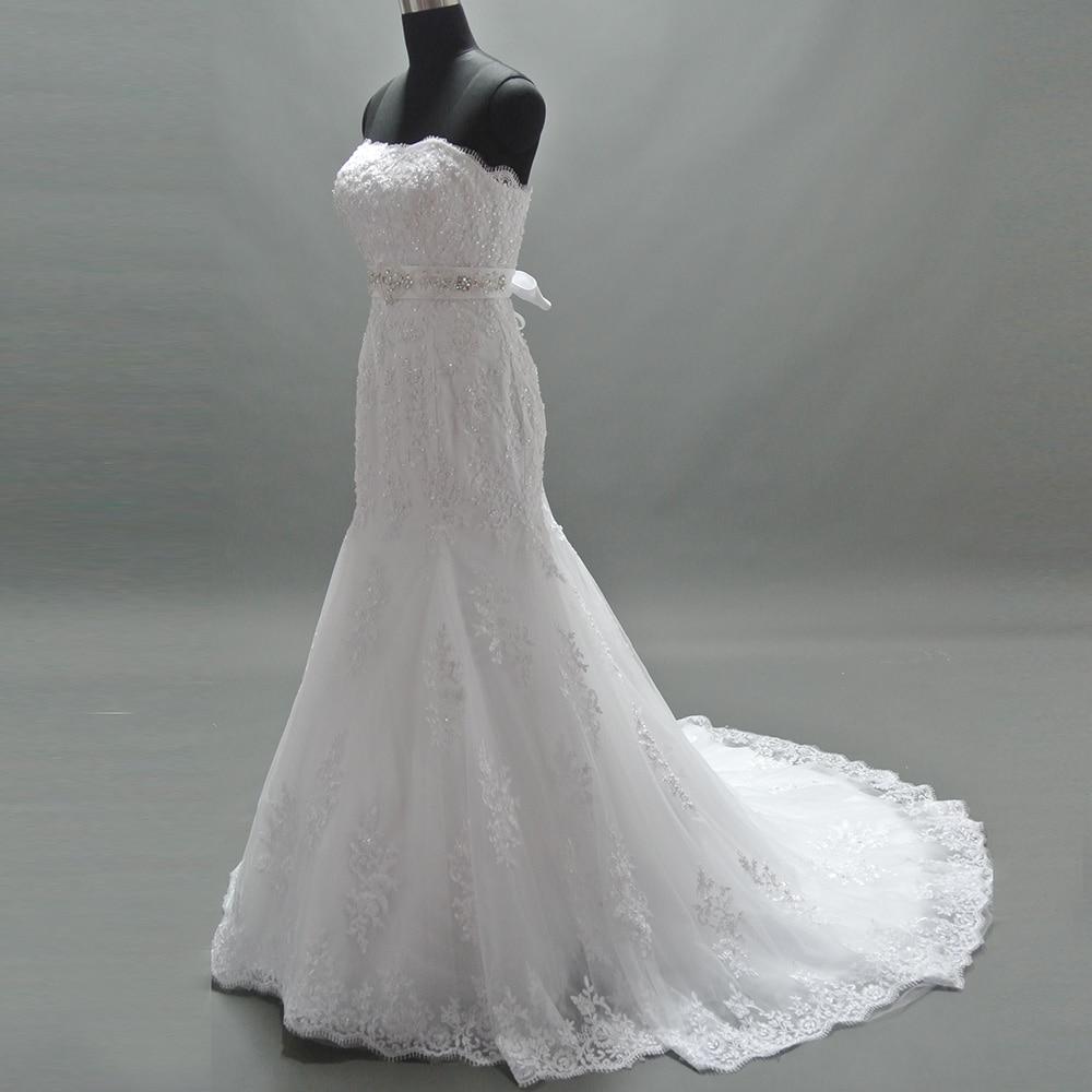 2017 Mermaid Strapless Romantic Lace Appliques Beaded Belt Wedding ...