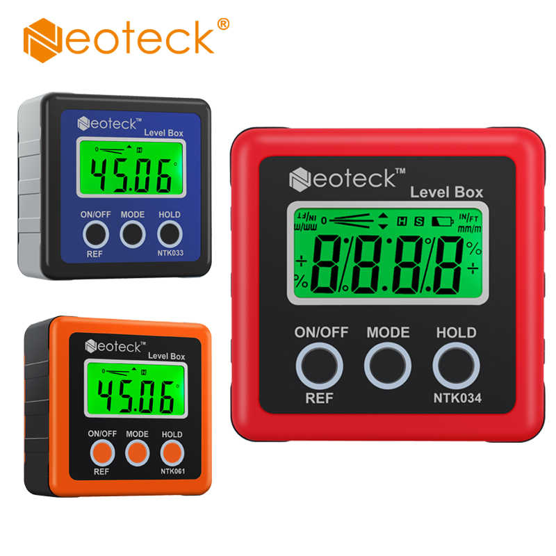 Neoteck Precision Digital Inclinometer Electron Goniometers 4*90 Degree Magnetic Base Digital Protractor Angle Finder Bevel Box