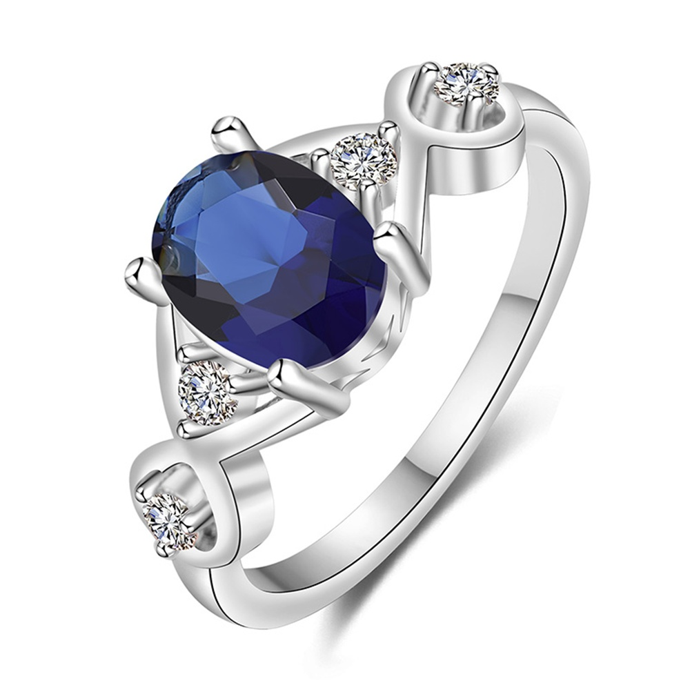 New Style White Zircon Rings For Women Ladies Jewellery Oval Blue Crystal Trendy Staggered Bride Wedding Bands Plated White Gold