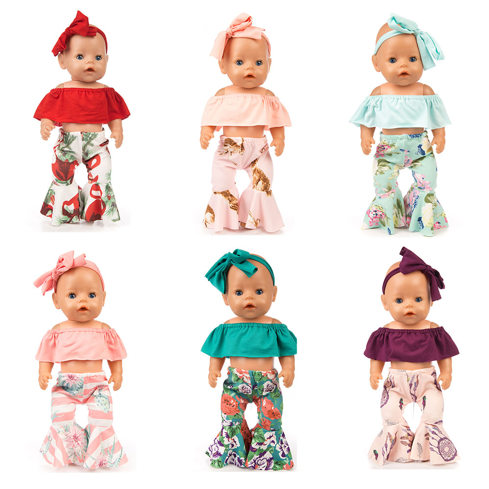 3pcs In 1, Hairband+Shirts+Pants For 43cm   Doll 17inch Reborn Doll Doll Clothes