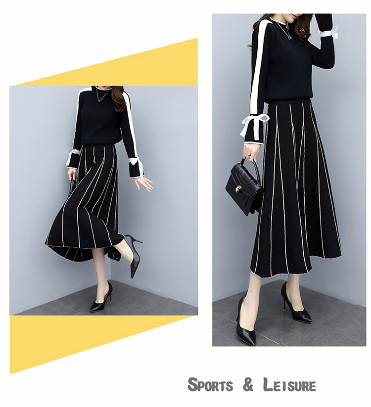 Plus Size Black Women Knitted Two Piece Sets Bow Tie Sweater And Long Skirt Suits Sets Winter Casual Elegant Vintage Ladies Sets 48
