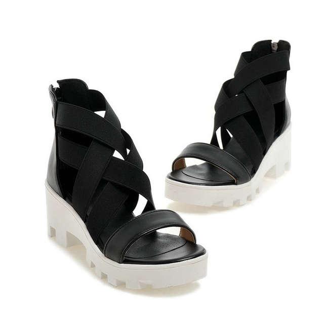 84e39af8b1a Online Shop NAYIDUYUN 2018 Fashion Womens Black Beige Stretchy Ankle Cross Strappy  Roman Gladiator Sandals High Heels Platform Summer Shoes