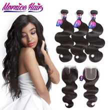 Mornice brasilianske Body Wave 3 Bundles Hair Weave Med Lace Closure Natural Color Human Hair Bundles Med Closure Non Remy Hair