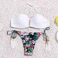 Reversible brasileño Bikini set Traje de Baño Cabestro Cuello Alto Mujeres Bikinis trajes de Baño traje de Baño Biquinis maillot de bain