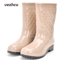 Winter Women Rainning Shoes 2017 Fashion Women Flats Platform Breathable High Top Waterproof Rain Boots Plus