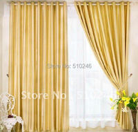 High Quality Classic Customized Stripe Blackout Fabric Golden Upholstery Hotel Decoration Window Rod Eyelet Curtain