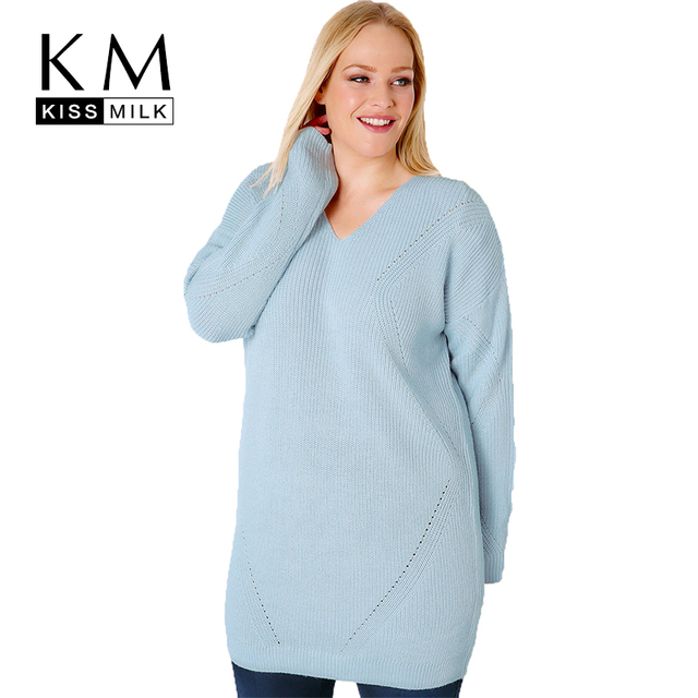 167330ffad Kissmilk Women Plus Size V Neck Hollow Out Sweater Long Sleeve Solid Blue  Basic Tops Large