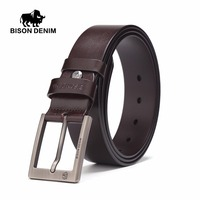 BISON DENIM Newly Korean Fashion Men Balck Belt Casual Stylish Matchable Cowboy Genuine Leather Smooth Double