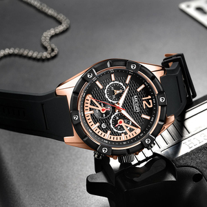 Image 5 - Мужские часы megir Quartz из розового золота, светящиеся водонепроницаемые спортивные часы, наручные часы с хронографом Erkek Kol Saati Montre Homme