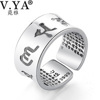 V YA Solid 999 Sterling Silver Ring For Men Male Om Mani Padme Hum Heart Sutra