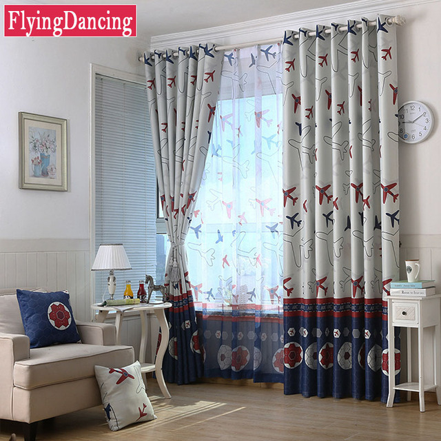 Attractive Kids Curtains Football Airplane Print For Baby Living Room Cartoon Curtains  White Blue Curtains Sheer Child