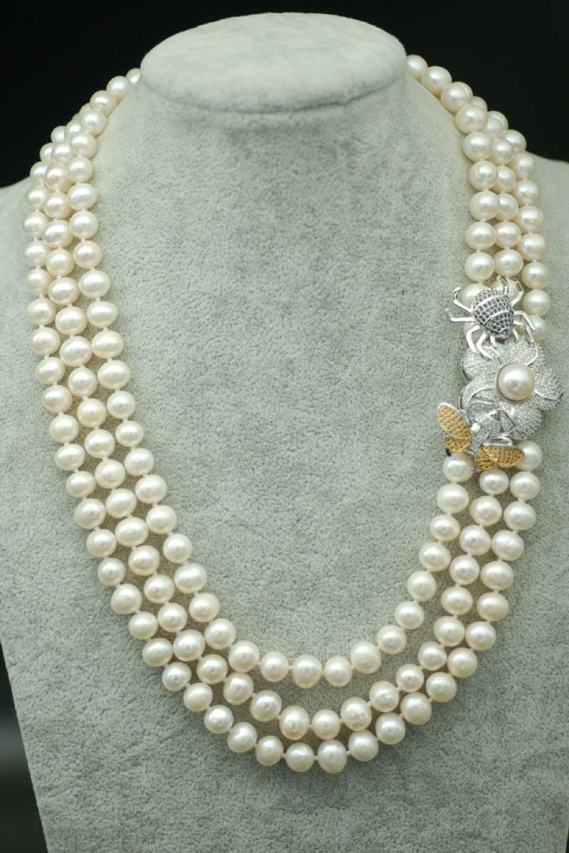3 rangées perle d'eau douce blanc près ronde 8-9mm & araignée collier fermoir 17-19 pouce FPPJ en gros perles nature