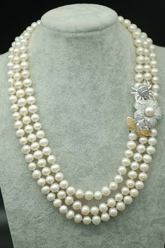 3rows freshwater pearl white near round 8-9mm &spider clasp necklace 17-19inch FPPJ wholesale beads nature