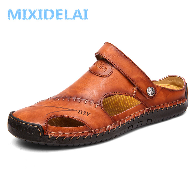 Summer Sandals Men Leather Classic Roman Sandals 2019 Slipper Outdoor Sneaker Beach Rubber Flip Flops Men Water Trekking Sandals