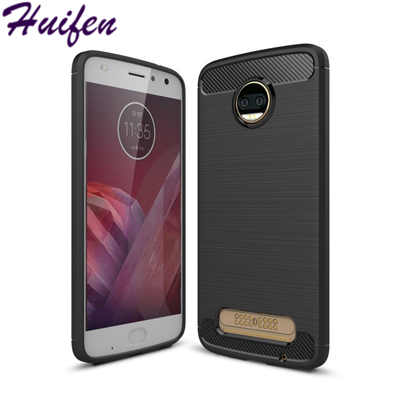 For Motorola Moto Z2 Force Case Slim Hybrid Super Armor Carbon Fiber Texture Brushed Soft TPU Silicone Cover For Moto z2 force