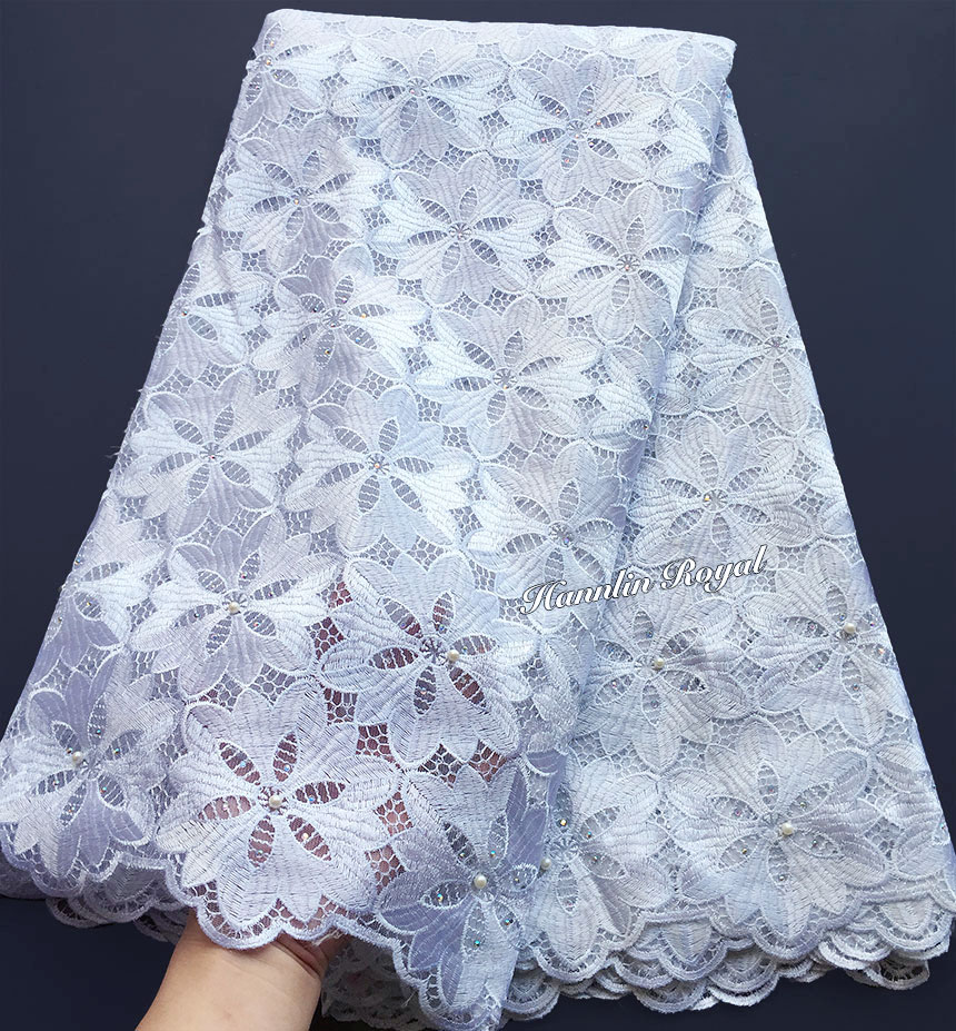 Big Floral Embroidery Pure White French Lace Guipure Solid African Tulle Fabric High Quality Soft Skin Healthy 5 Yards