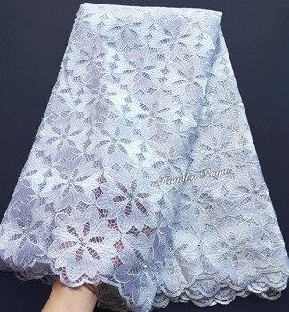 Большая Цветочная вышивка чистый белый французский гипюр кружева твердая африканская тюль ткань высокого качества мягкая кожа здоровая 5 я...