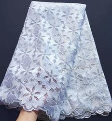 Big floreale del ricamo bianco puro francese pizzo Guipure solido Africano tessuto di tulle di Alta Qualità Morbida Pelle Sana 5 metri