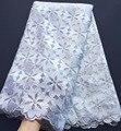 Gran floral bordado blanco francés de guipur encaje de tul de tela de alta calidad suave la piel saludable 5 yardas