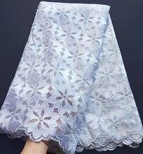 Tela de tul de encaje francés para mujeres, tejido suave y limpio, color blanco puro, guipur, sólido, para parejas africanas, 5 yardas, alta calidad