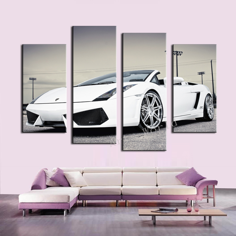 High Quality 4 Pcs White Sports Car Wall Art Painting Home Decoration Living Room Canvas Print Painting On Canvas Wall Picture