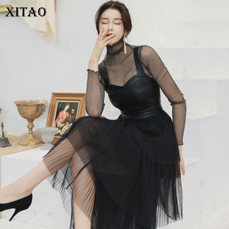 XITAO New Fashion Stand Collar Full Sleeve Loose Dress Female Bright Silk Bottom Sling with
