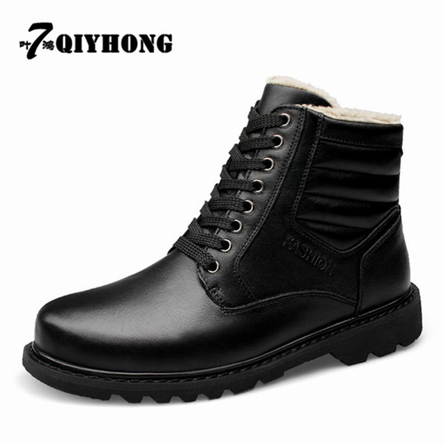 Genuine Leather Outdoor Snow Boots Thickening Plus Warm Winter Boots  QIYHONG Brand Men Shoes Men S Military Boots Size 38-48 b067d16d7808