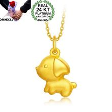 OMHXZJ Wholesale European Fashion Woman Girl Party Wedding Gift Dog 24KT Yellow Gold Pendant Necklace NA181