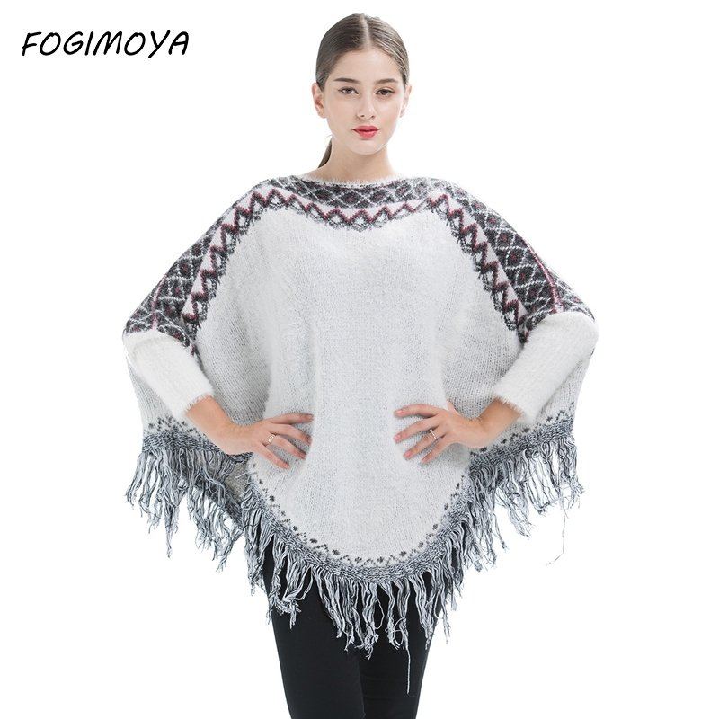 FOGIMOYA Sweater Women Autumn 2017 Computer Knitted Pullovers Loose Tassel Patchwork Tops Women's Casaul Batwing Sleeve Sweater
