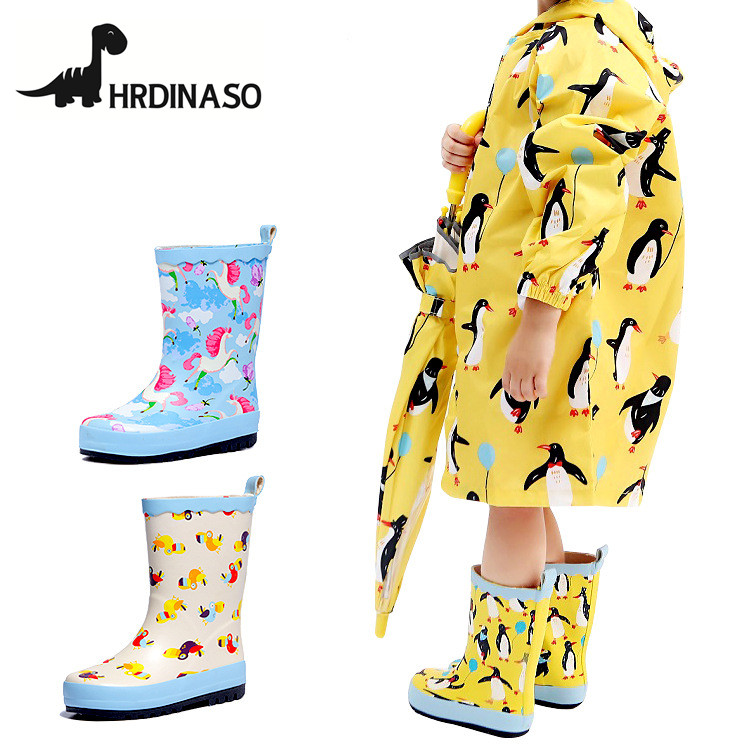 Kids Rainboots New 2018 Girls Boots Children Shoes Cartoon Animal Knee-High Rain Boots For Baby Girls Rubber Shoes Waterproof laura ashley butterfly rainboots for girls