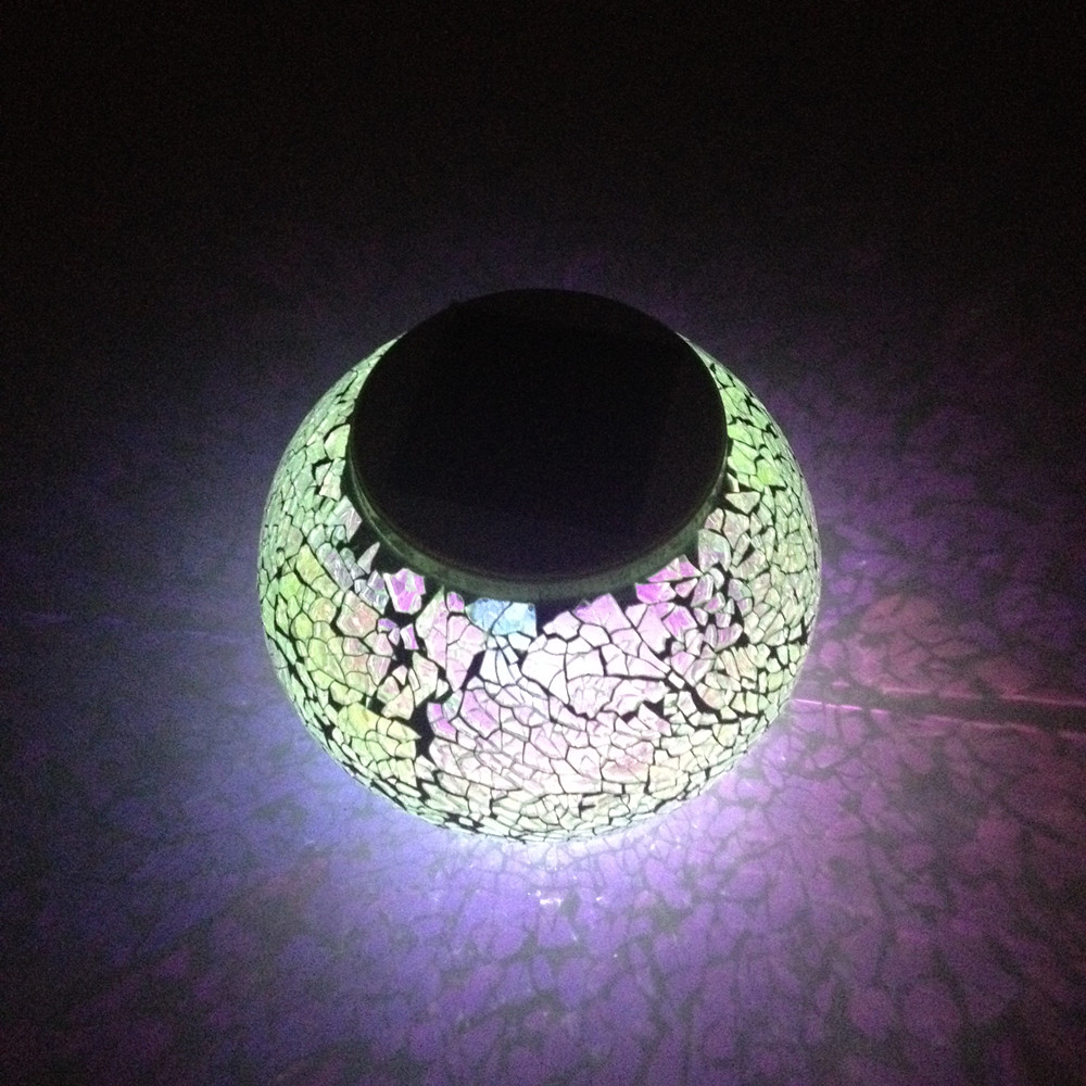 New Arrival Solar Powered Mosaic Glass Changing Table Lamp LED Rechargeable Waterpro Night Light Lawn Light Decoration Gift