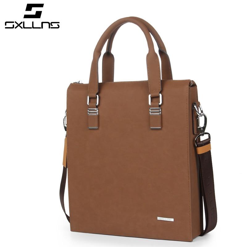 Vintage Fashion Large Capacity Leather Deep Brown Bags Design Famous Sxllns Brand Men Handbag Shoulder Crossbody Bags