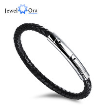 Fashion Genuine Leather Braided Men's Stainless Steel Bracelets & Bangles Fashion Casual Sport Accessory (JewelOra BA101949 )(China)