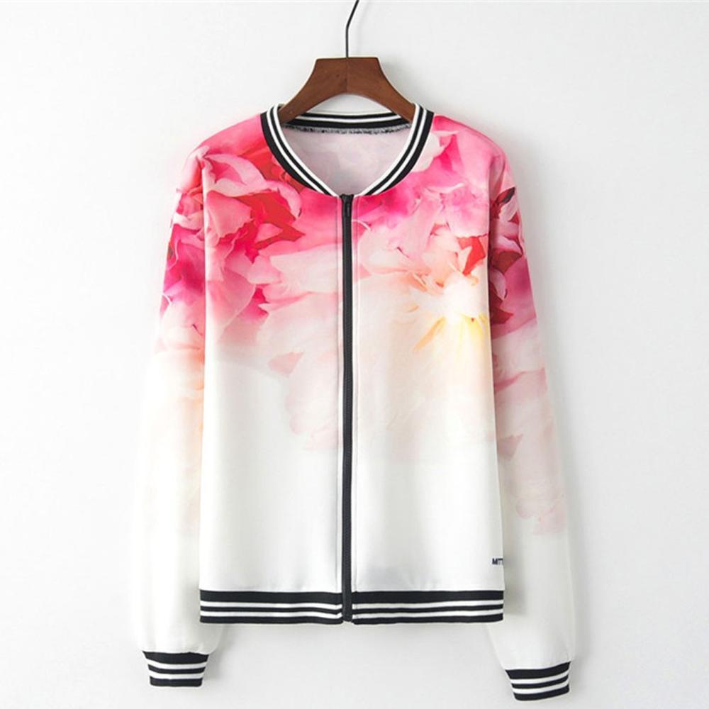 jacket Women Long Sleeve Tie Dye Print Zipper Pockets Casual Sport Coat flowers jaqueta feminina chaqueta mujer vitality Q60