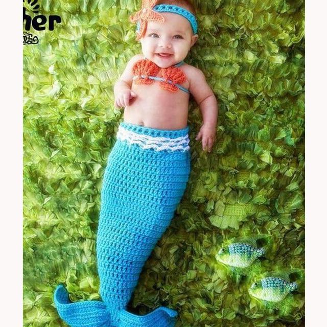 Tienda Online Recién Nacido fotografía apoyos bebé sirena traje bebé ...
