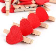 Mini Red Heart Love Wooden Clothes Photo Paper Clothespin Craft Postcard Clips Crafts Decoration (200 Pcs)
