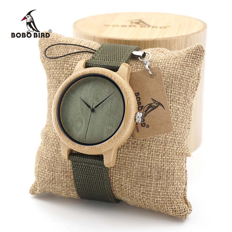 BOBO BIRD Mens Natural Wood Bamboo Watches Womens Vintage Wooden Watch With Army Green Canvas Band in wood box custom logo bobo bird luxury bamboo wood men watch with engrave flower bamboo band quartz casual women watch full wooden watch in gift box