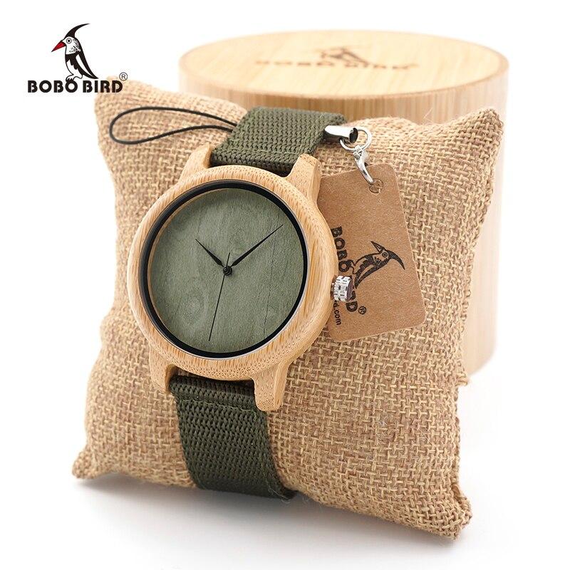BOBO BIRD vīriešu dabīgā koka bambusa pulksteņi Sieviešu Vintage koka pulkstenis relogio masculino Green Dial neilona siksna koka kastē