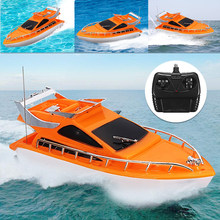 Orange Mini RC Boats Plastic Electric Remote Control Speed Boat Kid Children Toy 26x7.5x9cm(China)