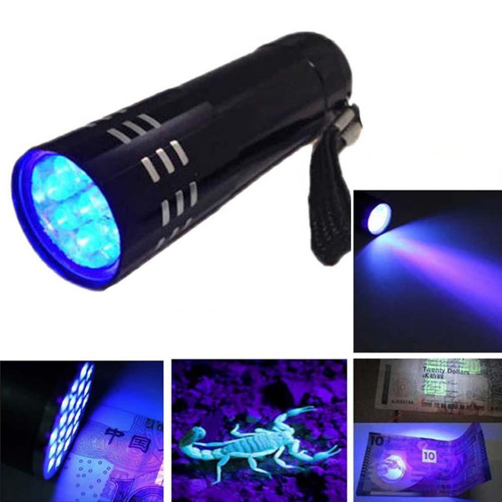 UV Ultra Violet 9 LED Flashlight Aluminum Fluorescent Agent Test Pen Mask Examines The Ultraviolet Light High Quality