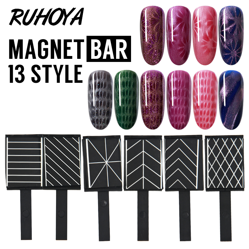 Ruhoya 3D Line Strip Effect Strong Magnetic Pen Tools Nail Art Magnet Stick Cat Eyes Double Headed Magnet for Nail Gel Polish