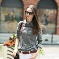 Veri Gude mulheres blusa de Design de impressão do estilo do Vintage