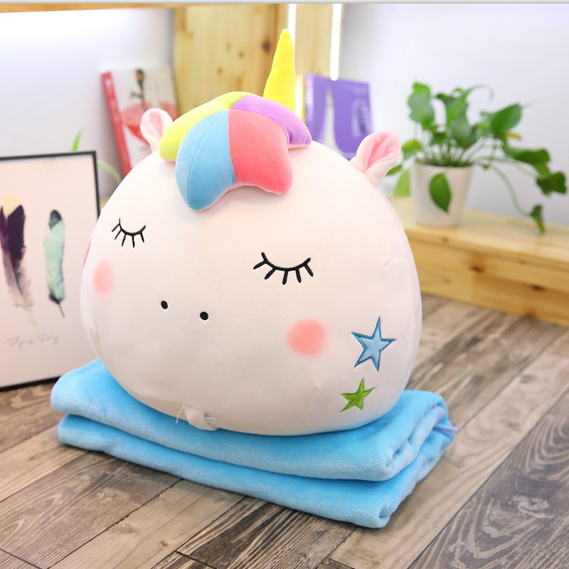2019 New Arrival Colorful Stuffed Unicorn 2 in 1 Pillow With Blanket Inside Soft Plush Rainbow Unicorn Head Toys For Children in Stuffed Plush Animals from Toys Hobbies