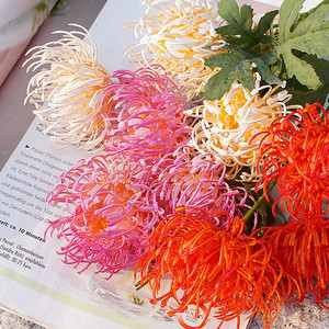 3 Heads golden chrysanthemum branch plastic Artificial flowers flores DIY wedding home decoration plant green leaves(China)
