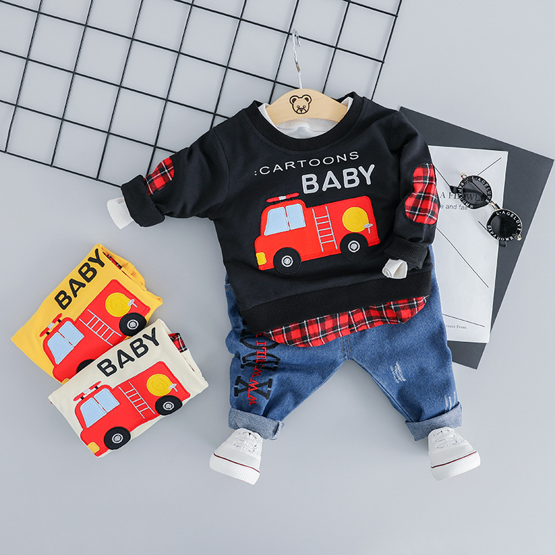 HYLKIDHUOSE 2019 Spring Infant Clothing Sets Baby Girls Boys Clothes Suits Car Cotton T Shirt Pants Casual Kids Children Costume