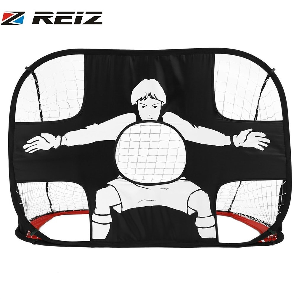 REIZ Foldable Football Gate Net Goal Gate Extra-Sturdy Portable Soccer Ball Practice Gate Kids Children Students Soccer Training