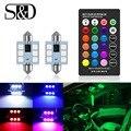 C5W светодиодный RGB гирлянда 31 мм 36 мм 39 мм 42 мм автомобиля Подсветка салона с дистанционным управлением Управление многоцветный потолочный п...
