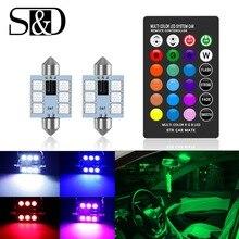 C5W светодио дный LED RGB гирлянда 31 мм 36 39 мм 42 мм салона автомобиля огни с дистанционное управление многоцветный купольная лампа для чтения Авто 12 В в
