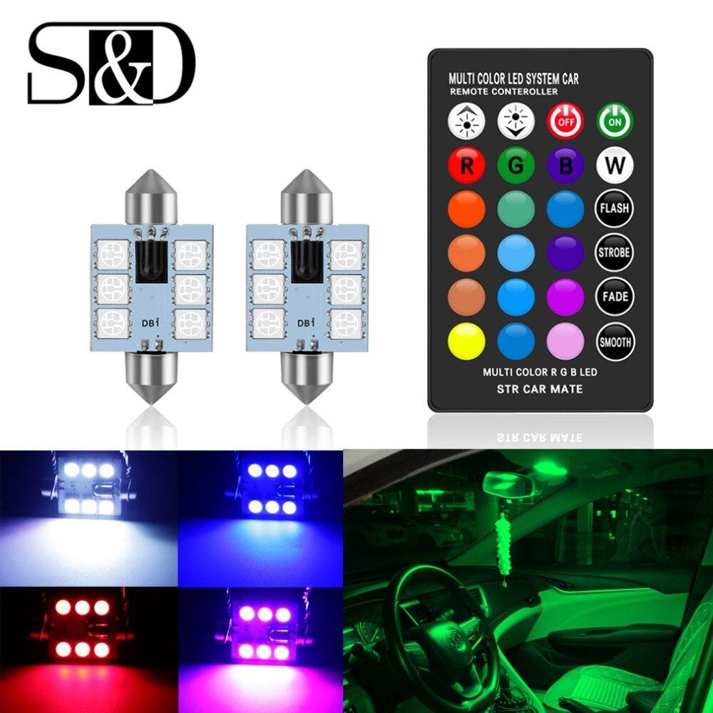 C5w led rgb festão 31mm 36mm 39mm 42mm luzes interiores do carro com controle remoto multicolorido cúpula luz leitura lâmpada auto 12 v