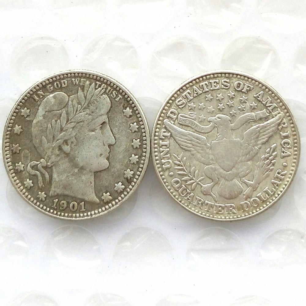 90% Silver 1901 Barber Quarter Dollars Retail / Wholesale USA Copy Coins